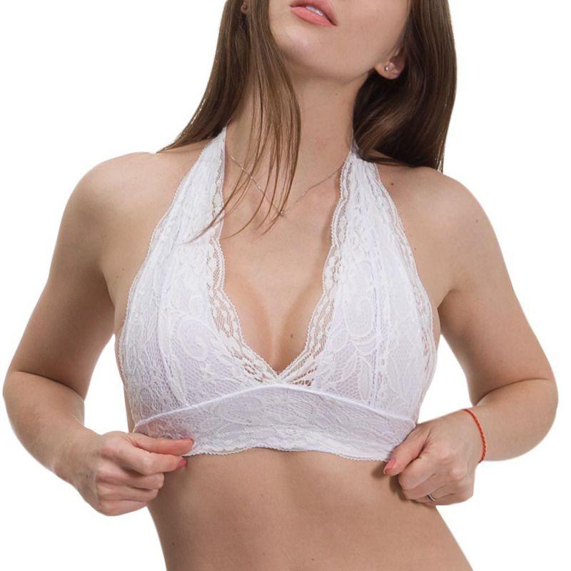 Buy Sexy Women Floral Sheer Halter Bra Crop Top Lingerie vest Lace Triangle Bralette Summer Crochet Tank Tops Backless Vest