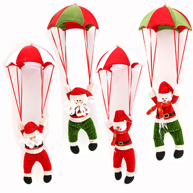 1pc Christmas Home Ceiling Decorations Parachute 24cm Santa Claus Smowman New Year Hanging Pendant Xmas Decor