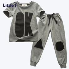 Little J Boy Clothing Set 2Pcs Grey Letter OK Short Sleeve T-Shirt+Long Pants Spring Autumn Girl Child Outfit Sport Clothes 2-6Y