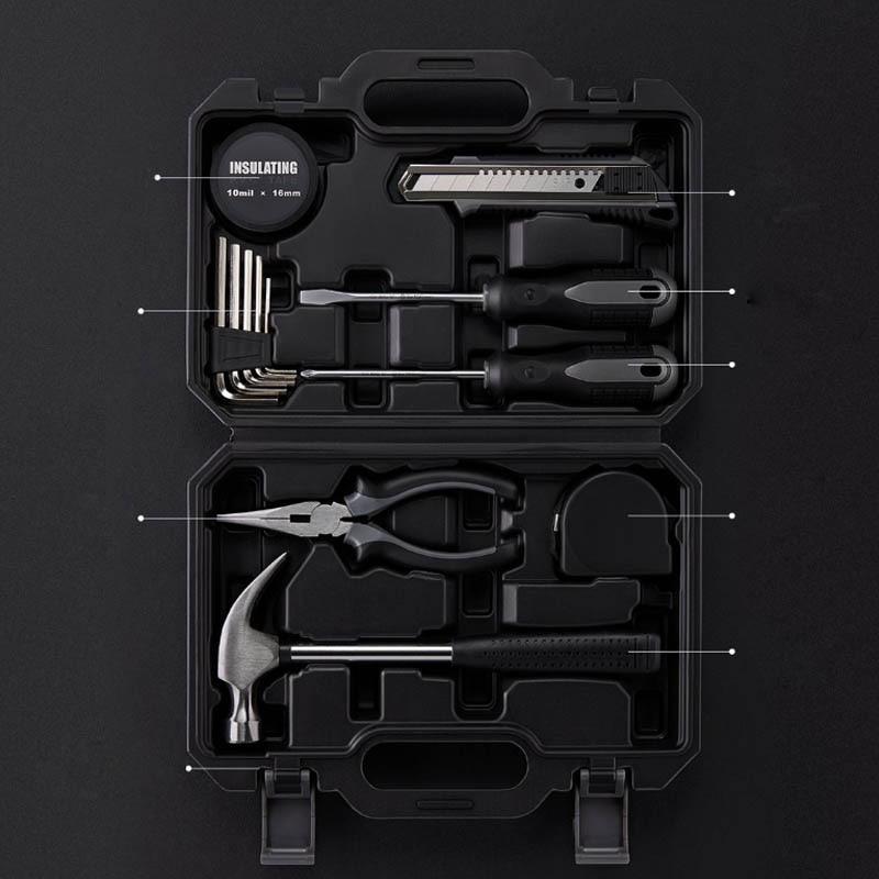 XIAOMI JIUXUN 12/60 pièces ensemble d'outils à main Kit d'outils à main de réparation de ménage général avec boîte à outils mallette de rangement clé marteau pince à ruban K - 5
