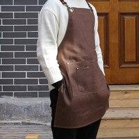 Brown Gray Denim Long Apron W Leather Strap Barista Florist Cafe Bartender Chef Uniform Barber Florist