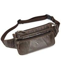 LAOSHIZI LUOSEN Genuine Leather Waist Bag for iphone 6 7 Plus Men's Fanny Pack Hip Purse Travel Hiking Bum Bag Belt Bag