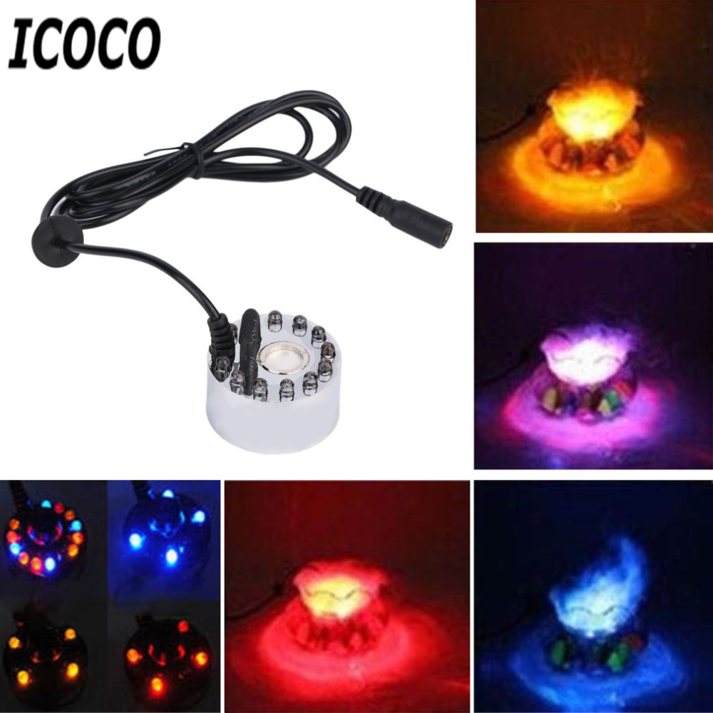 1pc 12 LED Coloful Ultrasonic Mist Maker Fogger Purity Water Fountain Pond Purify Humidifier Nebulizer 1A 24V Wholesale Hot Sale