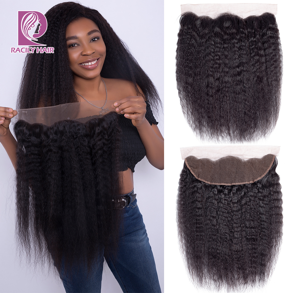 Racily Hair Natural Brazilian Kinky Straight Lace Closure 10 22 13 4 Lace Frontal Closure Remy