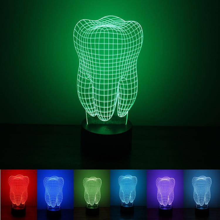 Зубы красочные 3D Ночная питания USB светодиодный свет окружающей среды атмосфера