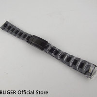 BLIGER Black Full Stainless Steel PVD Watch Bracelet Folding buckle Mens Watch Band Top Brand 20MM Watch Strap For Watches ST24