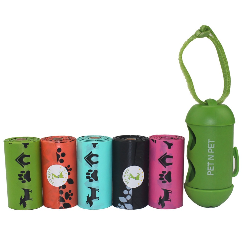 Dog Poop Bags Earth-friendly 5 Rolls 75 Counts Rainbow 5 Colors To Choose Unscented Doggie Waste Bags With 1 Dispenser