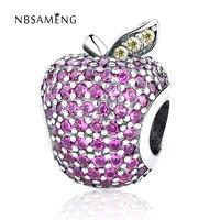 925 Sterling Silver Beads Pha Lê Khá Apple Charms Fit Gốc Pandora Vòng Tay Vòng Cổ Nữ Trang Sức Quà Tặng