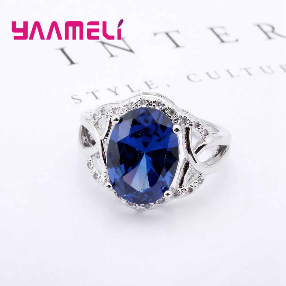 YAAMELI New Fashion Hollow Cross Brand 925 Sterling Silver Finger Ring Oval Bule Cubic Zirconia Women Female Party Jewelry