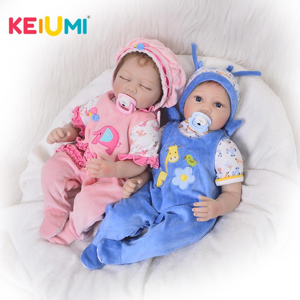 Fashion Silicone Reborn Baby Dolls 22 Inch Lifelike Girl And Boy Baby Dolls Twins Cloth Body bebe Reborn Kid Birthday Xmas Gift все цены