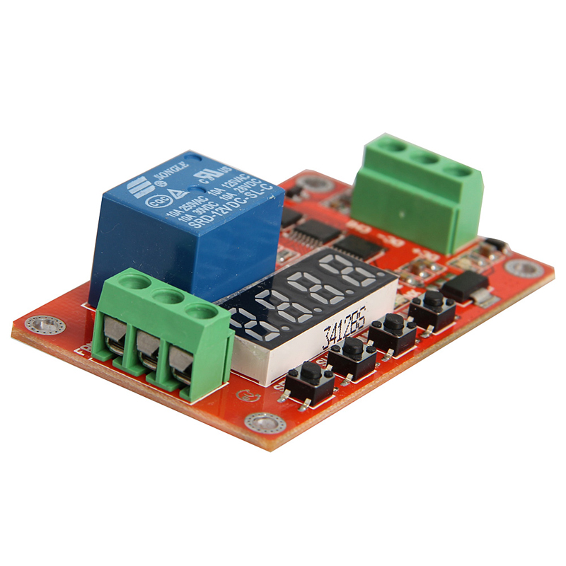 DC 12V Relay Multifunction Self-lock Relay PLC Cycle Timer Module Delay Time Switch 12v timing delay relay module cycle timer digital led dual display 0 999 hours