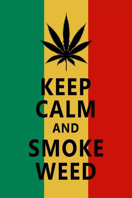 Custom Canvas Wall Decor Funny Stickers Keep Calm And Smoke Weed Poster Wallpaper