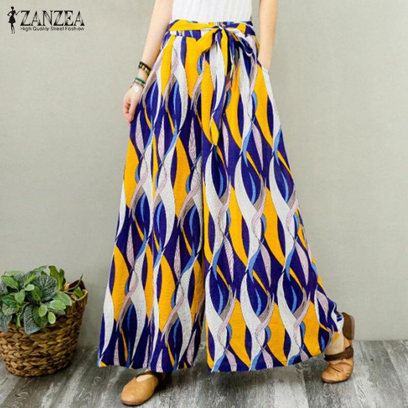 2019 ZANZEA Summer Bohemian   Wide     Leg     Pants   Women Floral Printed Flare Trousers Elastic Waist Lace Up   Pants   Casual Beach Pantalon