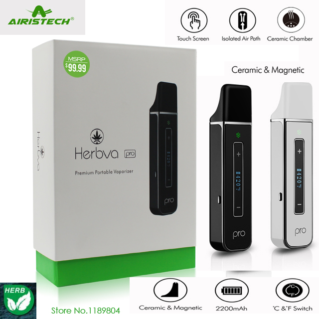 Original Airistech Herbva Pro Dry Herb Vaporizer Ceramic Tip Chamble 2200mah Bottom Heating Vs Black Widow Herbal Vaporisator