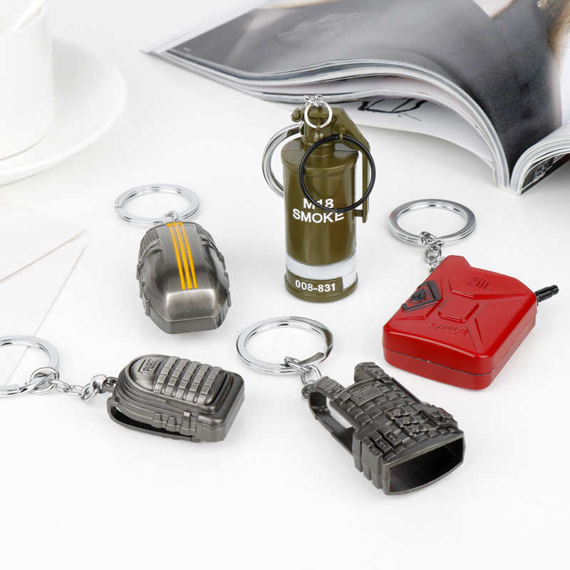 LLavero de moda de Metal PUBG bolso de coche de moda Chaveiro PUBG llavero colgante joyería fresca 3D Nivel 3 cuerpo blindado chaleco militar regalo