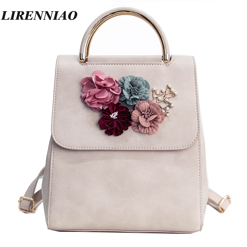 LIRENNIAO Brand Fashion Flowers Backpack Fresh Style Backpacks For Teenage Girls School Bags 2017 New Floral