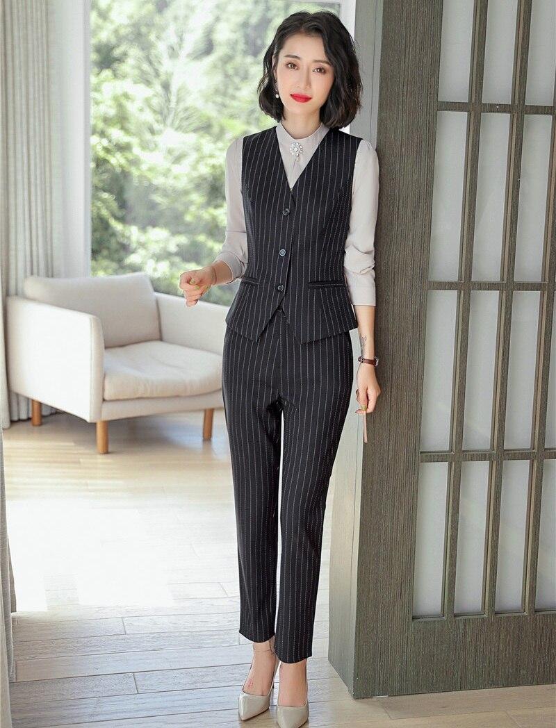 Formelle Costumes Gris Pantalon Top Et Conceptions D'affaires Dames Bureau Femmes Avec Uniformes Styles Ensembles Gilet HHwFqxzr5