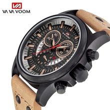 Fashion Men's Military Wristwatch Outdoor Sports Watch Calendar Quartz Waterproof Leather Strap Watch Men relogio masculino 2019