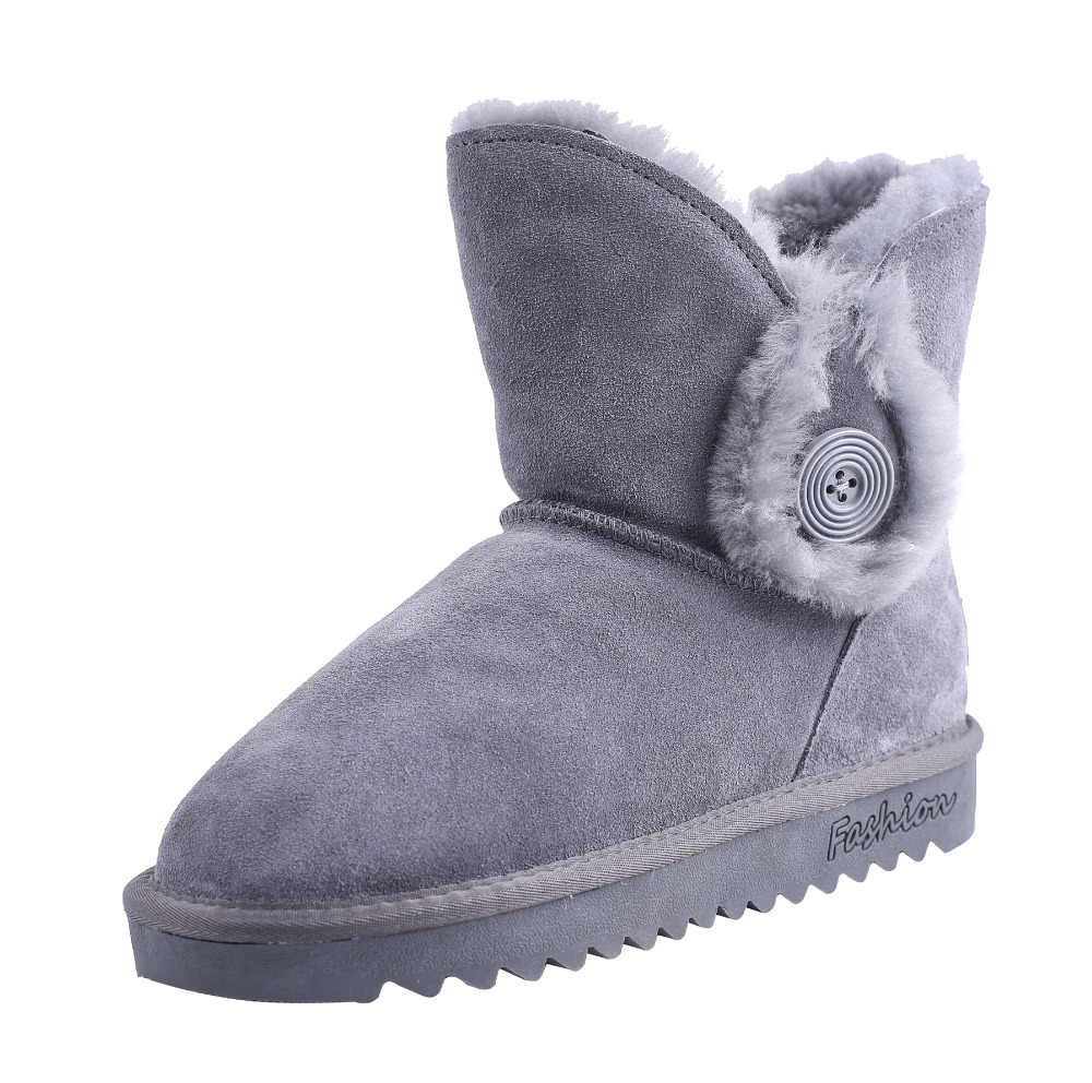 CICO Cow Suede Women Snow Boots Wool Women Winter Boots Fashion Women Mid Calf Boots with Button Decoration double buckle cross straps mid calf boots