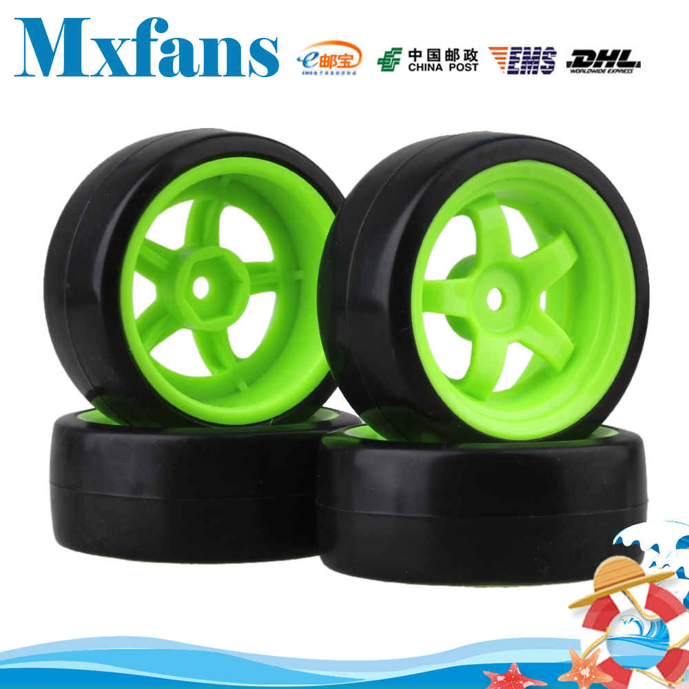 Mxfans 4x Drift Tire & Green Wheel Rim for RC 1:10 On Road Racing Car & Drift Car Black aluminum 6 spoke wheel rim for 1 10 rc on road racing car