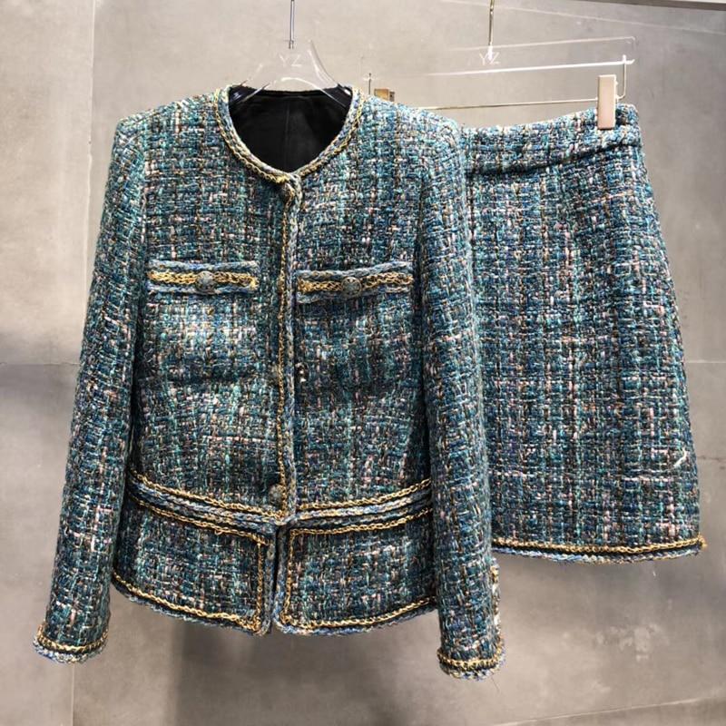 Women Autumn Tweed Set 2 Piece Set Women Skirt Top 2019 Elegant Office Lady Full Sleeve Jacket And A-line Skirt Suit Female