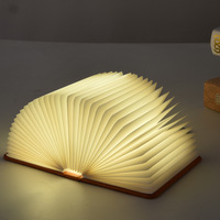 Creative Foldable Pages Folding Led Book Shape Night Light Lighting Lamp Portable Booklight Usb Rechargeable Table