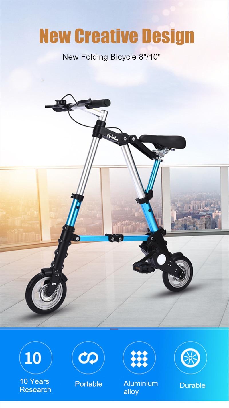 "HTB1TOmcXoY1gK0jSZFMq6yWcVXah Brand New Ultra Light  8""/10"" Mini Folding Bike Bicycle Portable Outdoor Subway Transit Vehicles Foldable Bicicleta"