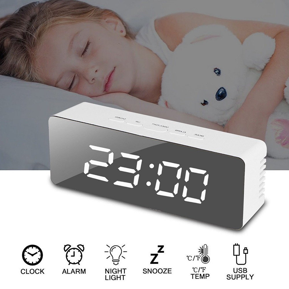 LED Digital Make up Mirror Alarm Clock 12H 24H Snooze Function Indoor Thermometer USB font b