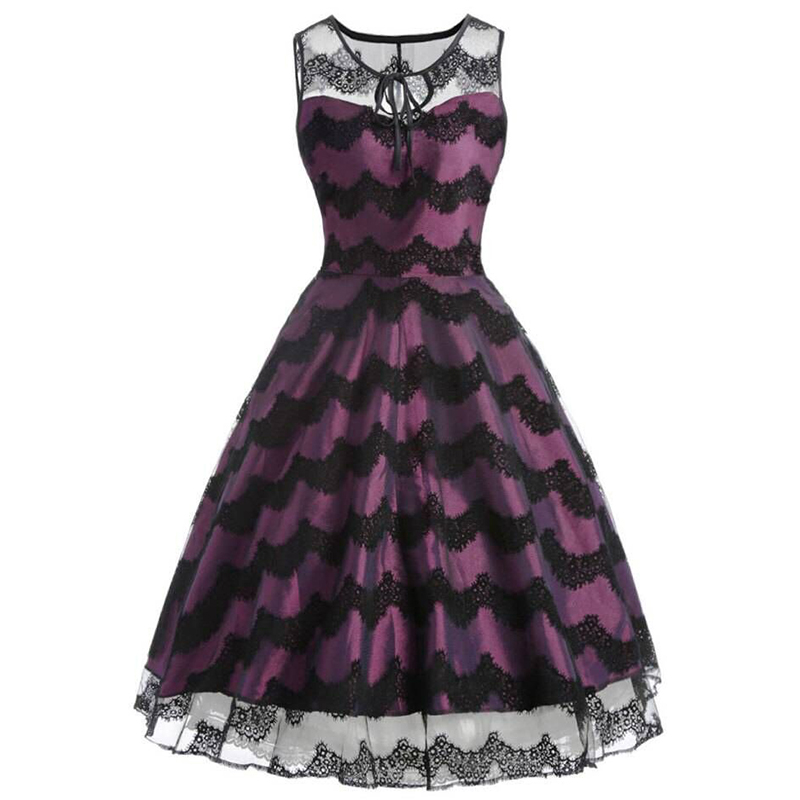 Black Purple Patchwork Lace Sleeveless O Neck Summer Dresses Elegant Vintage Party Club High Quality Sundress Vestido