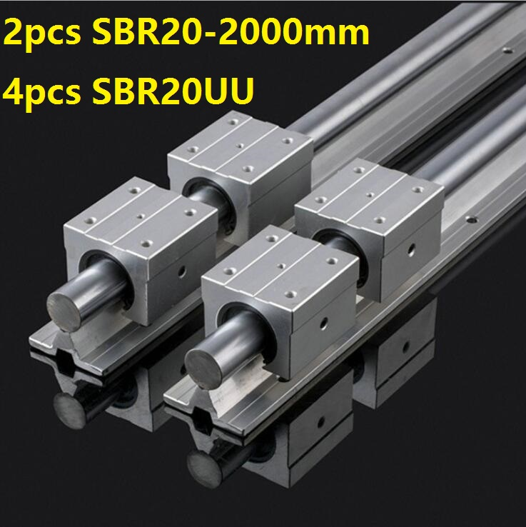 2pcs SBR20 20mm -L 2000mm support rail linear guide + 4pcs SBR20UU linear blocks CNC parts linear rail guide