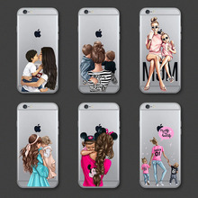 Cute Cartoon Fashion Black Brown Hair Baby Mom Girl Queen Case For iPhone X XS Max XR 8 7 6 6s Plus Soft Silicon Woman Cover