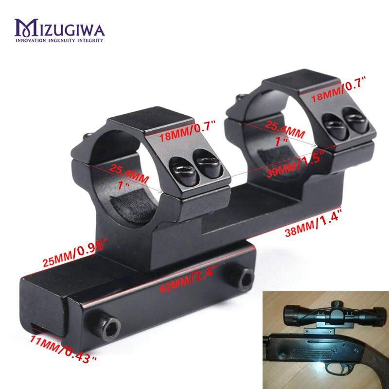 """Monture décalée intégrale bidirectionnelle 25.4mm 1 """"anneau à monture prolongée queue d'aronde 11mm Picatinny Rail Weaver viseur de portée de fusil à dessus plat"""
