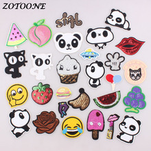 ZOTOONE Cute Animal Panda Cat Patches Embroidered Iron on Patch for Clothing Sequin DIY Stripes Clothes Sticker Appliques