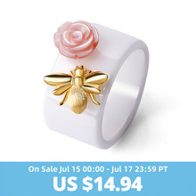 Lotus Fun Real 925 Sterling Silver Natural Handmade Fine Jewelry Ceramic Ring Cute Bee Kiss from a Rose Rings for Women Bijoux(China)