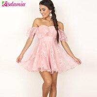 Pink Black Off Shoulder Flower Mesh Female Summer Dress 2017 Elegant Strapless Party Dresses Fashion Empire