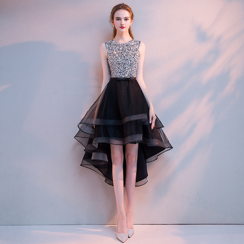High/Low Black   Cocktail     Dress   Bling Sequined Upper O-neck Tank Sleeves Ruffles Skirt Prom   Dress   Plus Size Red   Cocktail     Dress