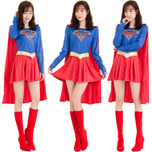 Sexy Supergirl Costume Cosplay For Women Superhero Halloween Adult Carnival Fancy Dress