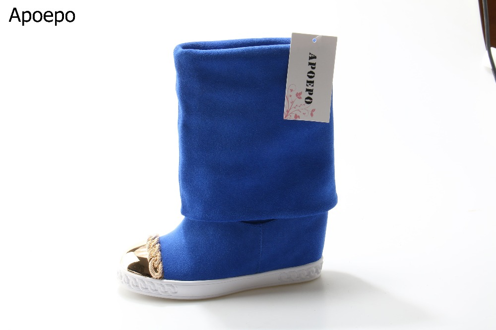 Hot Sale Women Solid Color Blue Flock Leather Round Toe Slip On Mid Calf Boots Winter Fashion Metal Decoration Wedge Booties stylish women s mid calf boots with solid color and fringe design