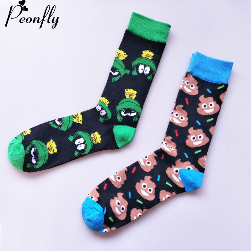 PEONFLY Personality harajuku Socks funny Cartoon lovely animal Frog Color Spell Pick Sock Man Medium Tube cotton casual Socks(China)
