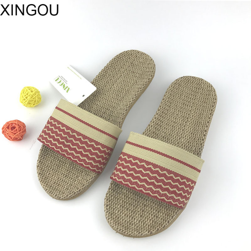New linen home women's slippers spring/summer Comfortable flax female slippers fresh indoor home slipper and slides the new spring and summer ms south korea ensure their boots comfortable show female water thin antiskid tall canister shoe