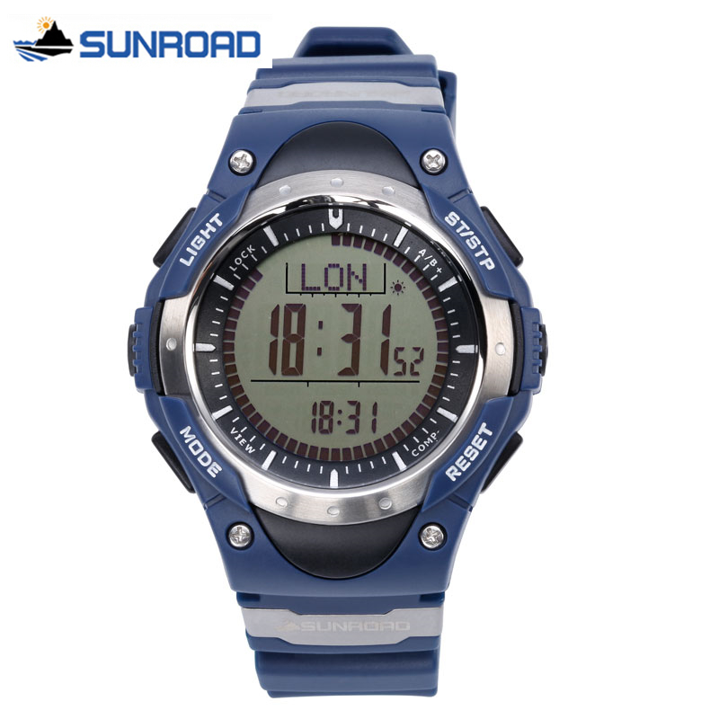 SUNROAD Relogio Digital Watch Waterproof Altimeter Compass Stopwatch Barometer Pedometer Outdoor Sport Watch Clock Women Men sunroad 2018 new arrival outdoor men sports watch fr851 altimeter barometer compass pedometer sport men watch with nylon strap