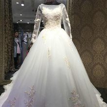 BANVASAC Ball Gown Long Sleeve Wedding Dresses Bridal Gowns