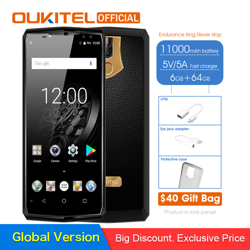 D'origine OUKITEL K10 11000 mah 5 v/5A Flash Charger Smartphone MTK6763 Octa Core 6 gb 64 gb 6.0 18:9 Affichage Face ID Téléphone Portable