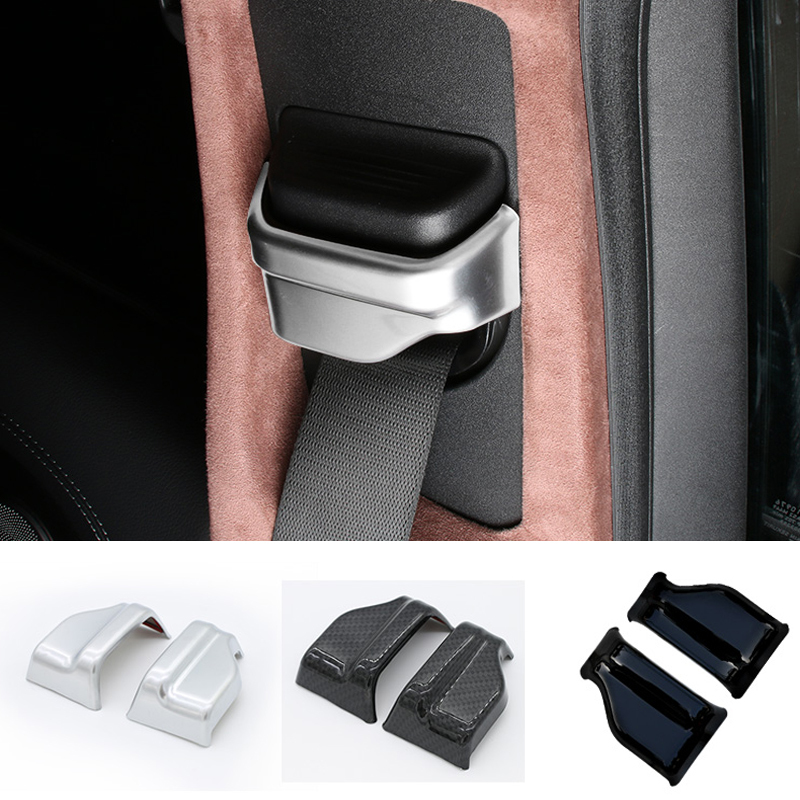 Accessories Interior Safety Seat Belt Decoration Cover Trim 2 Pcs For Mercedes Benz C Class W205 2015 ABS