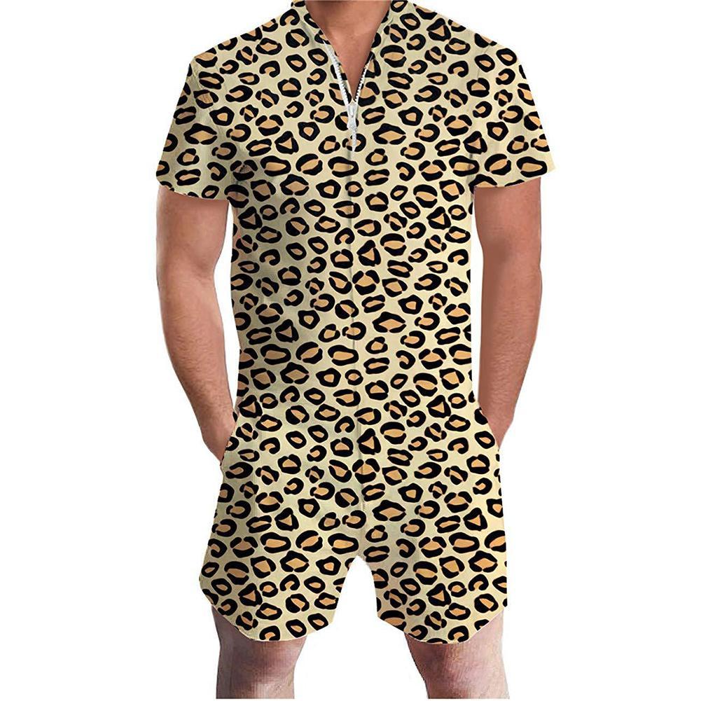 New Summer Men Flamingo Pineapple Leopard Print Zipper Short Sleeve Jumpsuit Romper