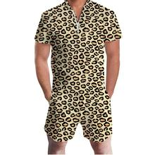 New Summer Men Flamingo Pineapple Leopard Print Zipper Short Sleeve Jumpsuit Romper