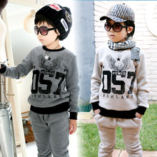 2016 Kids clothing set autumn and winter baby girls outfits boys sets fleece print sweatshirt +pants casual sports sets