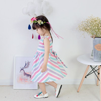 5165 Rainbow Stripe Baby Girls Dress 2017 New summer children clothing kids clothes girl clothing wholesale kids toddler clothes