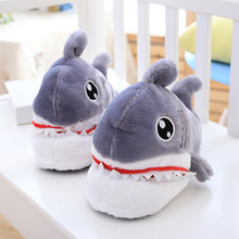 Winter Funny girls slippers Keep warm Non slip Sturdy Sole Cartoon Indoor shoes women Cute shark House for