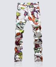 Горячая продажа Нового прибытия классический цветочный печати джинсы мода Окрашенные Китайском Стиле брюки
